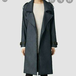All Saints Chambray, leather details Trench coat 0